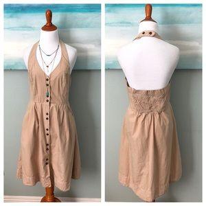 Anthropologie Maeve Trench Coat Halter Dress